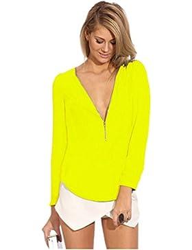 Mujer Gasa Floja Blusa Manga Large Casual Camisetas Con Cremallera Cuello En V