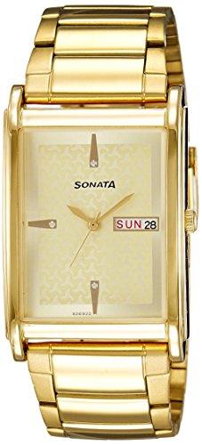 41FAlhrvQpL - Sonata 77002YM06 Gold For Men watch