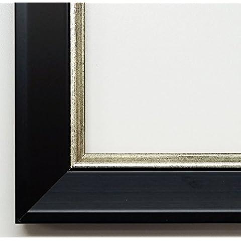 Specchio da parete specchio da bagno corridoio specchio appendiabiti–su taglie 200–Ismaning Nero Satinato, di Monaco argento 3,8, Dimensioni esterne dello specchio, nero, DIN A0 (84,1 x 118,9