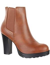 38 Mujer Para Color es Camel Amazon Zapatos Botines wUcqI0RRO