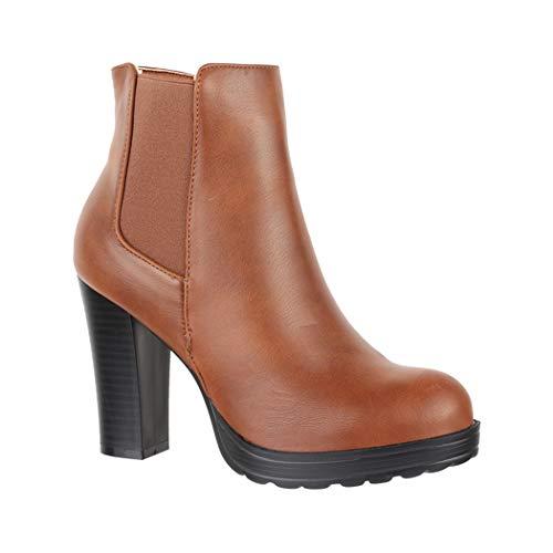 Elara Ankle Boots | Trendige Damen Stiefeletten | Blockabsatz Plateau | Chunkyrayan BK3237 Camel-40