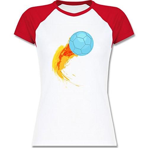 Handball - Burning ball - zweifarbiges Baseballshirt / Raglan T-Shirt für Damen Weiß/Rot