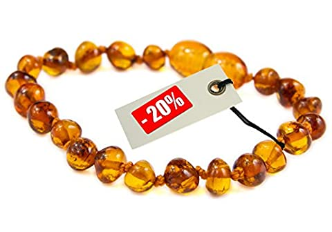 LUXURY Baltic Amber Anklet / Bracelet- Extra Safe - Best Baltic Amber Quality on Amazon - by Nickolas Jewellery