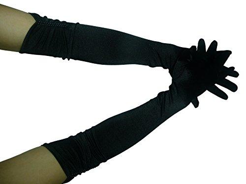 HO-Ersoka Damen Handschuh Satin lang mit Perlen schwarz -