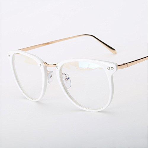 Fashion Glasses-brillenfassungen Strahlenschutz Gläser retro flacher Spiegel, weißer Rahmen