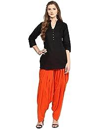 Pistaa Women's Cotton Short Black Kurta And Orange Patiala Salwar Set With Plus Size