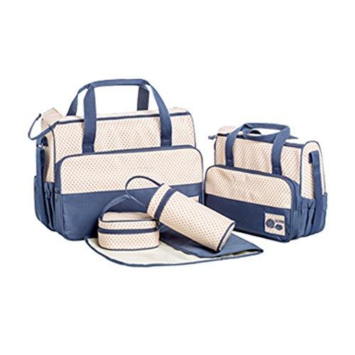 Allright 5-tlg Wickeltasche Lässig Kinderwagentasche Pflegetasche Baby Wickelunterlage (Marineblau)
