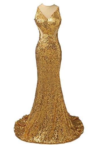 Toscana sposa chic Rueckenfrei paillette Tuell lunga Fest sera, abiti party Ball abiti Gold
