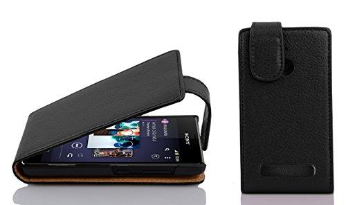 Cadorabo Hülle für Sony Xperia E1 - Hülle in OXID SCHWARZ – Handyhülle aus strukturiertem Kunstleder im Flip Design - Case Cover Schutzhülle Etui Tasche