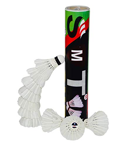 SMT Badminton Shuttlecock Pack of 10 Feather Shuttle Cock (White)