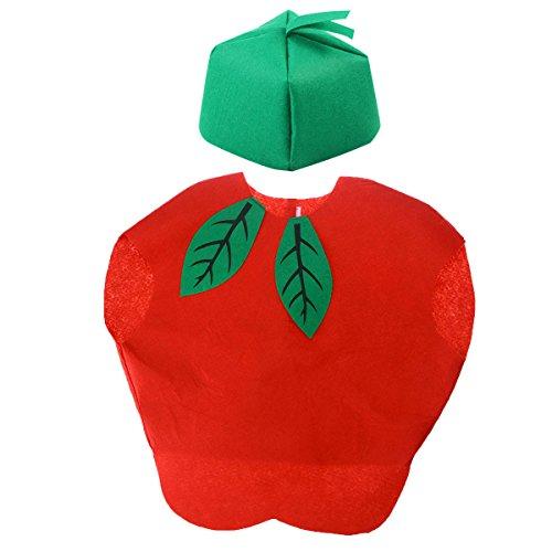 Kostüm Obst Kinder - LUOEM Kinder Obst Gemüse Kostüm Kinder Party Cosplay Kleidung für Kinder Kleinkind Jungen Mädchen (Äpfel)