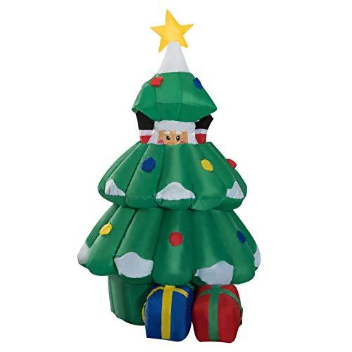 HOMCOM Arbol de Navidad + Papa Noel Hinchable + 2 Infladores y...