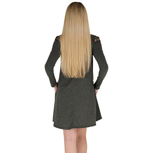 YuanDian Femme Automne Hiver Casual Couleur Unie Manches Longues Courte Robe Ajouré Col Rond A Line Swing Basic Tunique T Shirt Mini Robe Avec Poche Gris Foncé