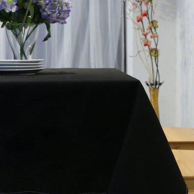 Alicemall Nappe Rectangulaire/Ronde Nappe Protège Table Nappe Picnic Anti Tache Nappe pour Mariage Maison Restaurant Cérémonie (Noir, Nappe rectangulaire 140*180)