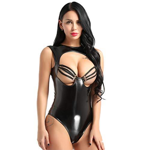 k Leder Body Anzug busenfrei ärmellos Overalls Jumpsuit Lackoptik Kostüm Gogo Tanz erotische Nachtwäsche Ouvert Schwarz XL(Taille 80cm) ()