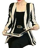 Betrothales Damen Anzug Mode Festliche Freizeitanzug Herbst Blazer Langarm Anzugjacke Mantel Trendigen Button Oberbekleidung Gemütlich Vertikale Streifen Casual (Color : Apricot, Size : L)