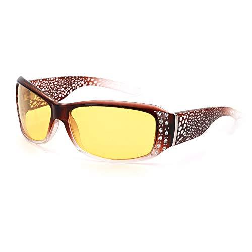 IGnaef Nachtsichtbrille Autofahren Sonnenbrille über Brille Damen Nachtsichtbrille Autofahren Polarisiert 100% UVA UVB Schutz (Bräunlich gelb)