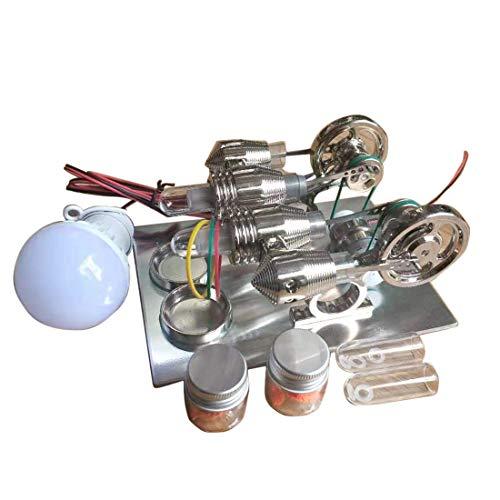 TETAKE Stirlingmotor Bausatz Groß 2 Zylinder Stirlingmotor mit Generator Sterling Motoren Stirling Engine kit für Technikinteressierte Bastler