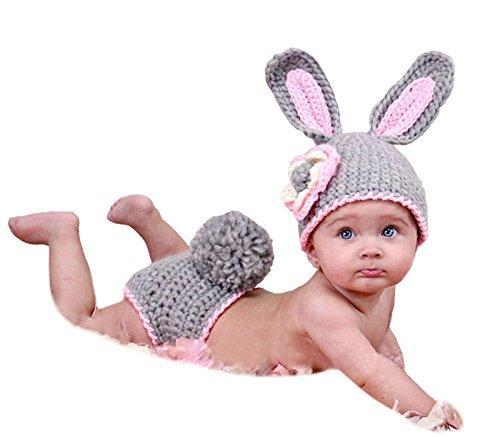 Fotozubehör Für Baby/Kleinkinder Handgefertigt Häkelware Fotografie Kostüm (Graues Kaninchen)