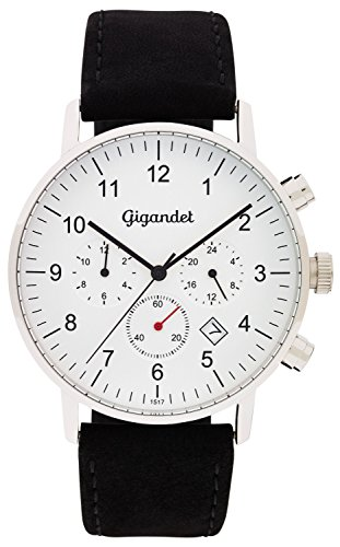 Gigandet Quartz Mens Black Dial Date Analogue Display and Silver Leather Strap Watch Minimalism II Dual Time Watch G21 001