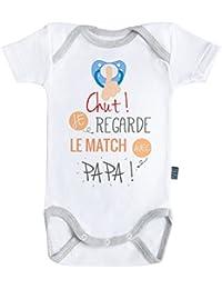 Chut ! Je regarde le match avec Papa - Body Bébé manches courtes - Coton - Blanc - Coutures grises - Baby Geek - Parent