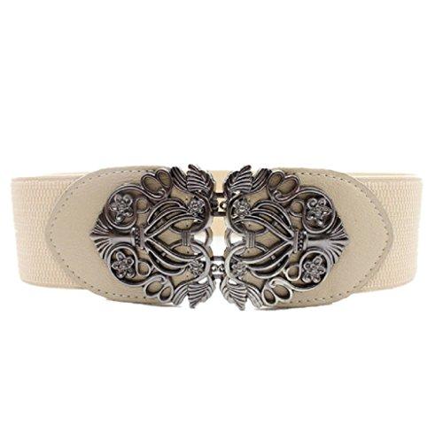 Ularma Moda Nueva moda accesorios aleación flor Vintage correa Correa correas de cuero para mujeres (blanco)
