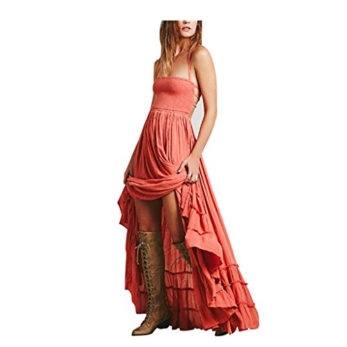Röcke VENMO Frauen Sommerkleid Langes Maxi Strappy Kleid Beach Evening Party Sundress Orange