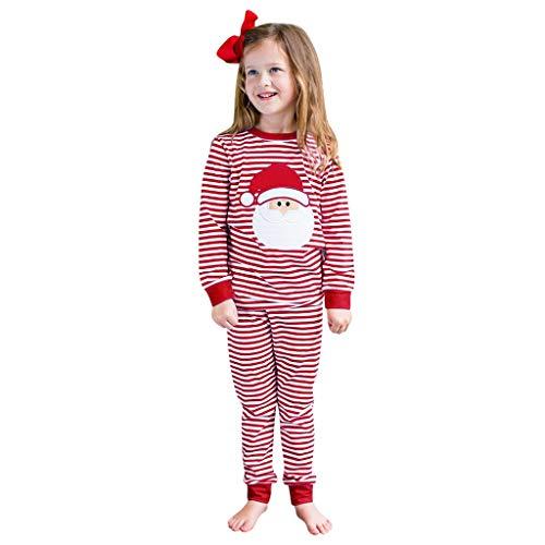 i-uend Baby Mädchen Kleidung Set Top Langarm Shirts + Pants Lang Bekleidungsset Kleinkind Outfits Kleinkind Baby Mädchen Weihnachten Santa Striped Tops + Pants Pyjamas Nachtwäsche Outfits