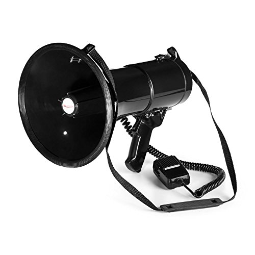 auna MEGA080 - Megaphon, Handmikrofon, Lautsprecher, 80 Watt, Sprech- / Sirenen-Modus, 6 x C-Batterien, Flexibles Spiralkabel, 500-700m Reichweite, Schultertragegurt, wetterfest, schwarz
