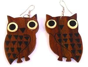 BOUCLES D'OREILLES BOIS hibou chouette ETHNIQUE BIJOUX WOODEN EARRINGS wood owl!