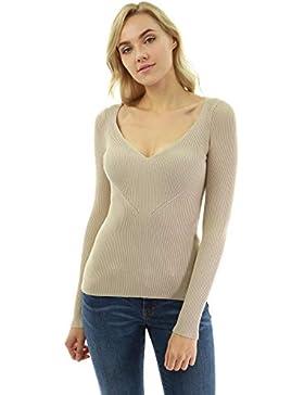 PattyBoutik Mujer suéter Acanalado con Cuello en Pico
