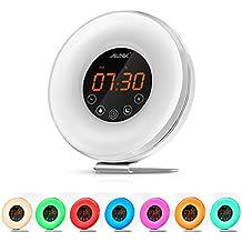 [Upgraded Version] Ailink Alarm Clock Wake-Up Light, Natural Sunrise Sunset Simulation, Digital Clock FM Radio & Easy Touch Snooze Function, 7 Warm & Color LED Lights