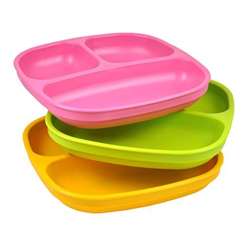 Re-Play, Kinderteller unterteilt Set, 3 Stück | BPA-frei | Stabiles Kindergeschirr | nachhaltig durch Recyclingmaterial | (Pink) Kinder Teller Set