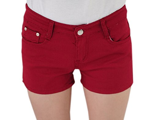 DELEY Damen Solide Stretch Hot Kurze Hosen Juniors Schmal Geschnittene Denim Jeans Shorts Dunkelrot XS