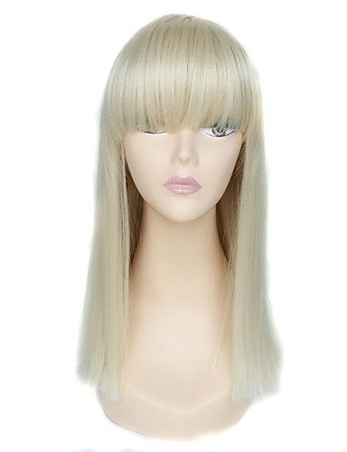 flequillo largo completo tapa de alta calidad peluca sintética recta