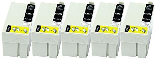 Preisvergleich Produktbild 5 Druckerpatronen XL nur Schwarz ersetzen Epson T2711 geeignet z.B. für Epson WorkForce WF-3620, WF-3620DWF, WF-3640, WF-3640DTWF, WF-7110, WF-7110 DTW, WF-7610, WF-7610DWF, WF-7620, WF-7620DTWF