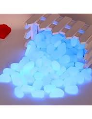 Lumineux Pierres nachtleuchtende pierres lumineuses Galets Lot de 100Décoration Vert Bleu 1,5–3,0cm, bleu, 1,5-3,0 cm