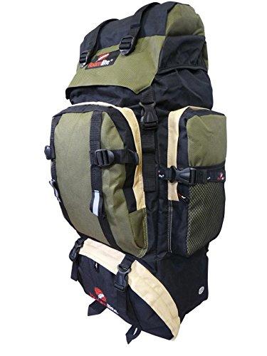 Roamlite 80 85 Liter Backpacker Rucksack - Festival Camping Rucksack - Rucksack Wanderrucksack – Trekking-Rucksack - Super Leichte 1,2 Kg - Viele Fächer - XL Extra Groß - RL15KG (Schwarz Grün) (Xxl Rucksack-schlafsack)