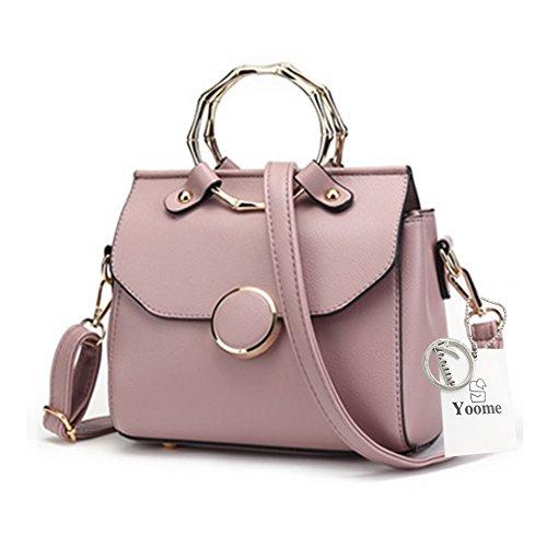 Sacchetti alla moda Yoome per donne Anello circolare Top Tote Handle Borse eleganti per fascino Casual Borse - Bianco Rosa