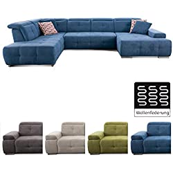 CAVADORE Wohnlandschaft Mistrel mit Longchair rechts und Ottomane links / Großes Sofa in U-Form / Inkl. Kopfteilfunktion / 343 x 77-93 x 228 / Blau
