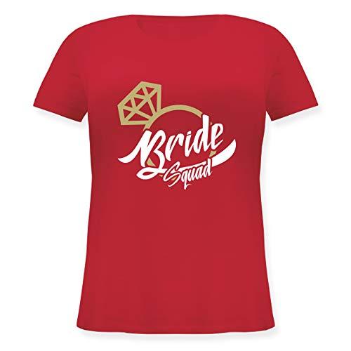 JGA Junggesellinnenabschied - Bride Squad - JGA Ring - L (48) - Rot - JHK601 - Lockeres Damen-Shirt in großen Größen mit (Stagette Kostüm)