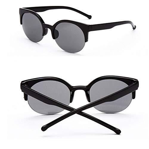 GJYANJING Sonnenbrille Mode Vintage Cat Eye Sonnenbrille Frauen Designer Retro Super Runde Kreis Halbrandlose Sonnenbrille Frauen Sonnenbrille Brillen