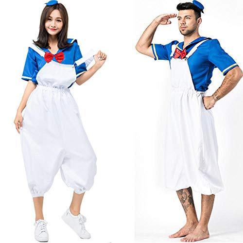 NiQiShangMao 1 STÜCK Erwachsene Tier Ente Cosplay Kostüme Paar Pyjamas Cartoon Donald Hallowee Frauen Männer (Ente Donald Kostüm)