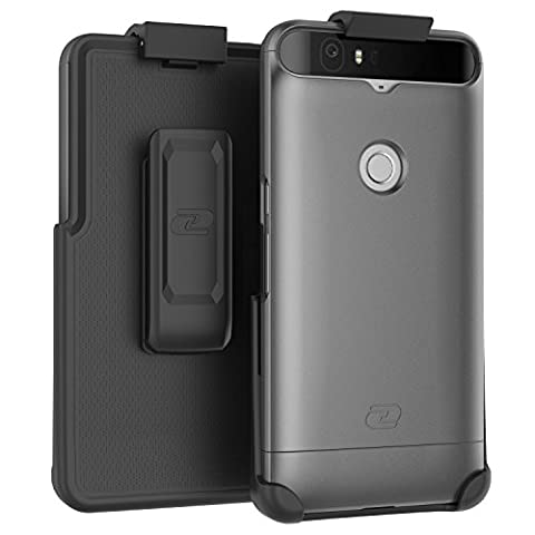 Nexus 6P Belt Case, Encased (SlimShield Edition) Secure Fit Holster Clip + Easy-Grip Slider Shell (Metallic Gray)