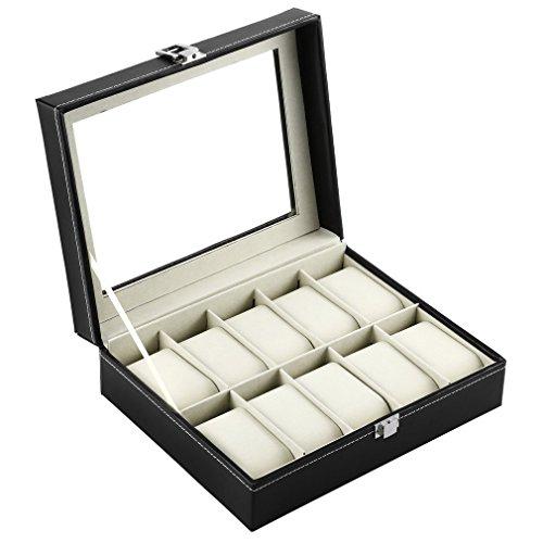 Hongyans Uhrenbox, Hongyans 10 Slots Luxus PU Leder Armbanduhr Schmuck Edelstein Display Box Speicherorganisator Fall Sammlung Schwarz
