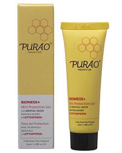 PURAO BIOMEDI+ Natürliches antibakterielles Gel mit medizinischem Manuka Honig, Manuka Salbe für Lippen - Lippenbalsam; Wundheilung bei Sonnenbränden, Blasen, Kratzern, für den Körper und bei trockenen, rissigen Lippen - ohne Papaya Vaseline (25ml)