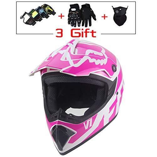 Onlyzer Motorradhelme Motorrad Motocross Helmet Crosshelm, mit Handschuhe Sturmmaske und Brille Geeignet für Erwachsene Kinder Quad Bike ATV Go-Kart-Helm,Rosa,S(53/55CM)