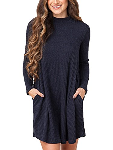 Summer Mae Women Retro Loose Casual Solid Color Long Sleeve Sweater Dress Autumn Winter