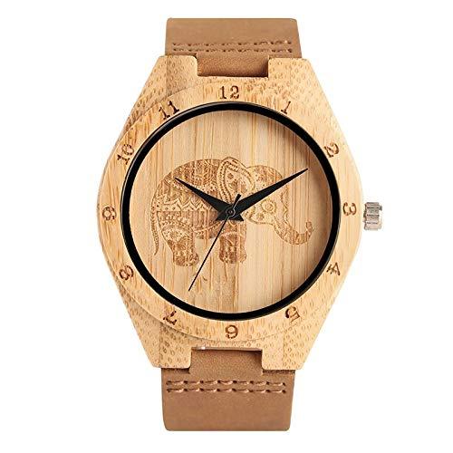 DYH&WW Uhren Einzigartige Elefant Zifferblatt Holz Bambus Armbanduhr Quarzwerk modernen Stil für Männer Natur handgefertigte Uhren