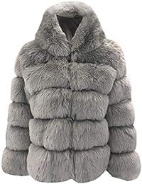 seniu66 Mujer Casual Espesar Invierno cálido Faux Conejo Abrigo de Piel Outwear Abrigos